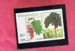 RWANDA 1984 FLORA LOCAL TREES HAGENIA ABYSSINICA TREE ALBERI UMUGESHI LOCALI ALBERO MNH - Rwanda