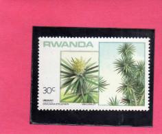 RWANDA 1984 FLORA LOCAL TREES DRACAENA STEUDNERI TREE ALBERI LOCALI UMUHATI ALBERO MNH - Rwanda
