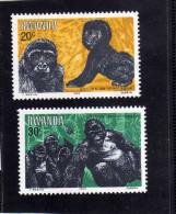 RWANDA 1983 FAUNA ANIMAL VARIOUS GORILLAS ANIMALS ANIMALI GORILLA ANIMALE MNH - Rwanda