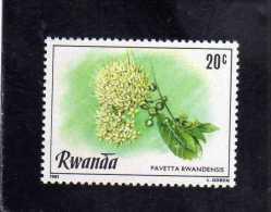 RWANDA 1981 FLORA FLOWERS PAVETTA RWANDENSIS FLEUR FLEURS FIORI FIORE MNH - Rwanda