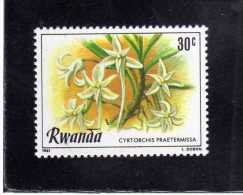 RWANDA 1981 FLORA FLOWERS CYRTORCIS PRAETERMISSA FLEUR FLEURS FIORI FIORE MNH - Rwanda
