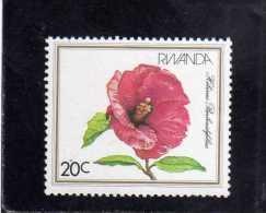 RWANDA 1982 FLORA FLOWERS  SHOWN HIBISCUS BERBERUDUFOLIUS FLEUR FLEURS FIORI FIORE MNH - Rwanda