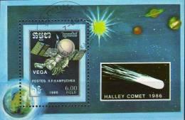 Raumflug Halleyscher Komet Sonde Vega 1986 Kambodscha Block 148 O 2€ US-Raumfahrt Forschung Bloc Space Sheet Of Cambodge - Kampuchea