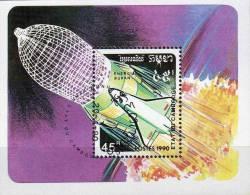 Raumfahrt-Forschung USA-spaceshuttle 1990 Kampuchea Block 179 O 1€ Buran SU-Weltraumflug Bloc Space Sheet Of Cambodge - Kampuchea