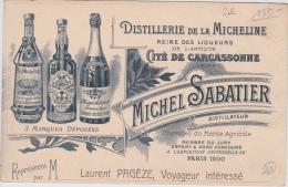 14 / 2 / 193  -  DISTILLERIE  DE  LA  MICHELINE  - MICHEL  SABATIER- Vue  De Carcassonne - Pubblicitari