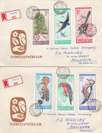 Hungary 1966 Birds Registered Covers To Australia - Hungary