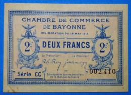 CHAMBRE De COMMERCE Des BASSE-PYRENEES 2 Fr  Série CC Du 19 Mai1917  Banque Billet  Paper Money Port Gratuit - Chambre De Commerce