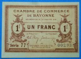 CHAMBRE De COMMERCE Des BASSE-PYRENEES 1 Fr  Série CC Du 30 Janvier 1918  Banque Billet  Paper Money Port Gratuit - Chambre De Commerce