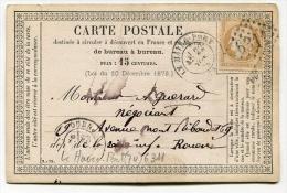 !!! CARTE PRECURSEUR CERES CACHET DU HAVRE PORT (SEINE INFERIEURE) 1874 - Cartoline Precursori