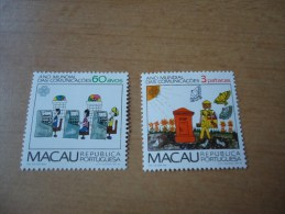 Macau: 2 Werte Weltkommunikationsjahr 1983 - Macao
