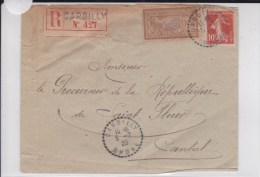 RHONE - 1920 - ENVELOPPE RECOMMANDEE De DARDILLY Avec OBLITERATION De BUREAU DE DISTRIBUTION - Postmark Collection (Covers)