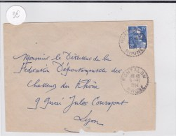 RHONE - 1954 - ENVELOPPE De RONTALON Avec OBLITERATION De BUREAU DE DISTRIBUTION - Postmark Collection (Covers)