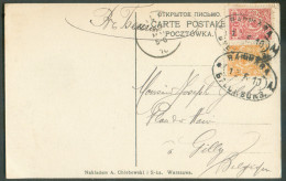 Russie 1 Et 3 Kop. Obl. Ambulant (tpo) WARSZAWA-ST PETERSBOURG Vers Gilly (BE) 12-6-1910 - 9783 - ....-1919 Provisional Government