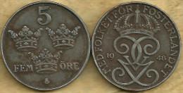 SWEDEN  5 ORE CROWNS FRONT KING MONOGRAM BACK 1948 READ DESCRIPTION CAREFULLY !!! - Suède