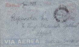 Argentina Via Aerea SUDAMERICANA SKF Cia., (Red) Meter Stamp 1938 Cover Letra To UPPSALA Sweden (2 Scans) - Argentinien