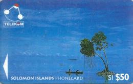 SOLOMON ISLANDS $50 CANOE 2ND TYPE NO SP LOGO 1996 GPT CODE: SOL-16 READ DESCRIPTION !!