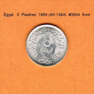 EGYPT   5  PIASTRES   SILVER  1964 (AH 1384)   (KM # 404) - Egypt
