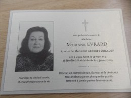 Doodsprentje Myriane Evrard Deux Acren 14/3/1931 Oostduinkerke 13/1/2005 ( Georges Dimkoff) - Religion & Esotericism