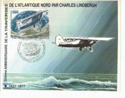 Thème -   Avion - Carte Philatélique Premier Jour - Traversée De L´Atlantique Nord Lindberg 50ème Anniversaire - 1919-1938