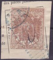 11177# ALSACE LORRAINE 1870 MANTEAU IMPERIAL SURCHARGE 50 Centimes BRUN - Revenue Stamps
