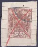 11184# ALSACE LORRAINE 1870 MANTEAU IMPERIAL SURCHARGE 50 Centimes BRUN - Revenue Stamps