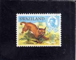 SWAZILAND 1969 FAUNA ANIMALS AFRICAN LYNX CARACAL WILDLIFE WILD ANIMAL ANIMALI LINCE AFRICANA ANIMALE SELVATICO MH - Swaziland (1968-...)