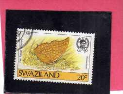 SWAZILAND 1987 FAUNA BUTTERFLY RED FOREST CHRAXES FARFALLA FORESTA ROSSA PAPILLON MARIPOSA USED - Swaziland (1968-...)