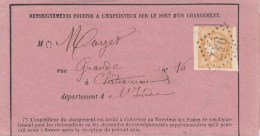 Y.& T. 43 Obl Losange GC 947  Sur Formulaire Concernant Un Chargement - Port Local CHATEAUROUX - 1849-1876: Klassik