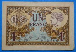 CHAMBRE De COMMERCE De PARIS 1Fr  Série 10 Mars 1920   Banque Billet  Paper Money  Port Gratuit - Chambre De Commerce