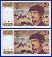 DEUX BILLETS PAIRE 20 FRANCS DEBUSSY NEUF TYPE 1980 ALPHABET A.001 N° 427978 ET 427979 DE1980 - 1962-1997 ''Francs''