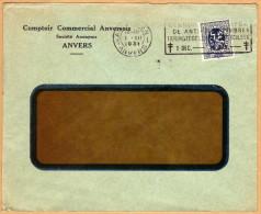 Enveloppe 288 Perfin Perforé Perforated Comptoir Commercial Anversois Anvers Antwerpen + Flamme - Belgique