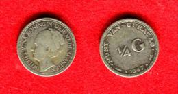 PAYS-BAS - NEDERLAND - NETHERLAND  - CURACAO 1/4 GULDEN  1947 - Curacao