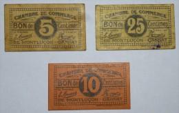3 CHAMBRE De COMMERCE De MONTLUçON  5/10/25 Ct  De 19?? Banque Billet  Paper Money  Port Gratuit - Chambre De Commerce