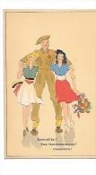 Conquêtes. Een Hartveroveraar! Militaire Entre Deux Jeunes Filles. Ceinture Tricolore, Fleurs - Humoristiques