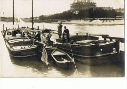 PARIS --Carte Photo --Beau Plan De Mariniers  Port Debilly Entre Pont Iena  Et Pont  Bir-Hakem (Tour Eiffel ) - Non Classés