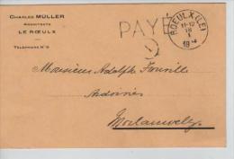 CP C.Müller Architecte C.Le Roeulx 18/1/1919 Gff Payé V.Morlanwelz PR544 - Postmark Collection