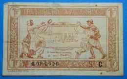 TRESORERIE  AUX ARMEES 1 Fr  Serie C Banque Billet  Paper Money  Port Gratuit - 1917-1919 Trésorerie Aux Armées