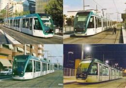 """BARCELONE (ESPAGNE) Tramway """"CITADIS"""" ALSTHOM LOT De 4 CPM Détails 2ème Scan - Tramways"""