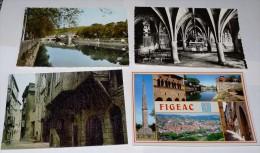 FIGEAC - 46 - Lot 11 Cartes : Bords Du Célé - Intérieur Eglise St Sauveur - Rue Séguier - Hôtel De La Monnaie  -Base ... - Figeac
