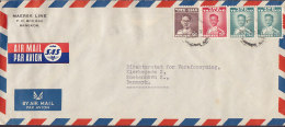 Siam Airmail Par Avion Via SAS Label MAERSK LINE 1953 Cover Brief To Denmark - Siam