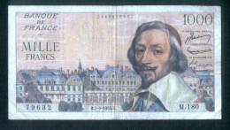 France Billet Circulé De 1.000 Francs - 01/09/1955  Qq Trous D´épingle Et Plis  - Petit Prix - Défauts - 1 000 F 1953-1957 ''Richelieu''