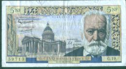 France - Billet  Circulé De 5 Francs - 15-10-1959 -  Défauts - Marqué -  Petites Coupures -petit Prix - 5 NF 1959-1965 ''Victor Hugo''