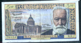 France - Billet  Circulé De 5 Francs - 5-03-1959 -  Défauts - Marqué -   -petit Prix - 5 NF 1959-1965 ''Victor Hugo''