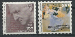Anton Bruckner & Johann Strauss. Compositeurs  Autrichiens.  2 T-p Neufs ** D´ALLEMAGNE - Music