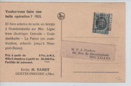 TP 193 Roulette Ostende/Oostende 1928 S/CP V.Bruxelles PR553 - Préoblitérés