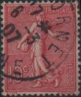 FRANCE 129 (o) Type Semeuse Sur Fond Ligné De Roty Gravée Par Mouchon (9) - Gebruikt