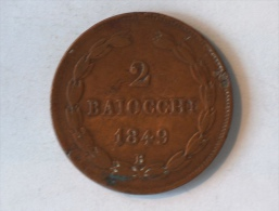 VATICAN PAPAL STATES 2 BAIOCCHI 1849 B MAX AN III - Vatican