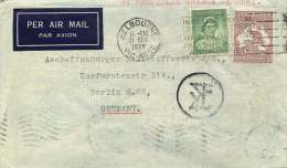 1938 Air Letter To Germany 2/- Roo, 1d Elizabeth  Greece Censor Mark - Briefe U. Dokumente