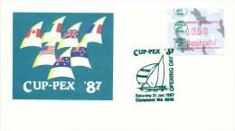 1987  Cup--Pex Frama Unaddressed  FDC  Green Cancel - Vignette Di Affrancatura (ATM/Frama)