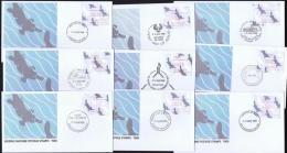 1986  Platypus  50 Cent Framas  Set Of 9 FDcs, Different Post Offices - Vignette Di Affrancatura (ATM/Frama)